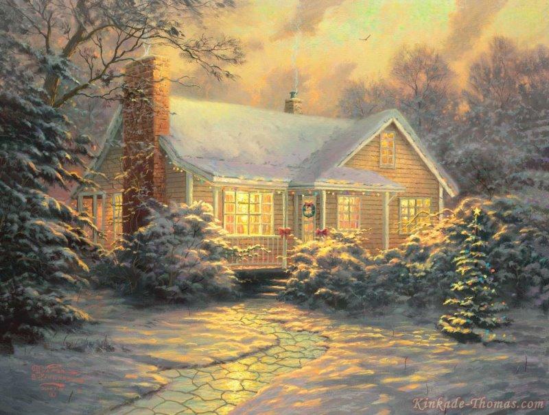 Thomas Kinkade Christmas Cottage Painting | Thomas Kinkade Paintings ...