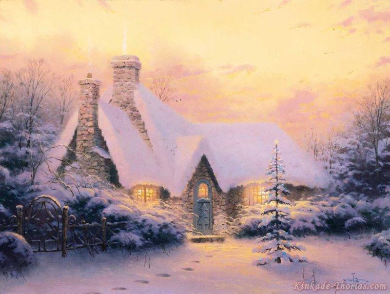 Thomas Kinkade Christmas Tree Cottage Painting | Thomas Kinkade ...