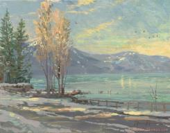 Lake Tahoe Shoreline, Winter by Thomas Kinkade