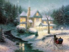 Moonlit Sleigh Ride by Thomas Kinkade